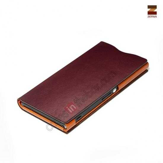 best price Zenus Signature Diary Genuine Cowhide Leather Cover Case for Sony Xperia Z1 L39h - Wine red