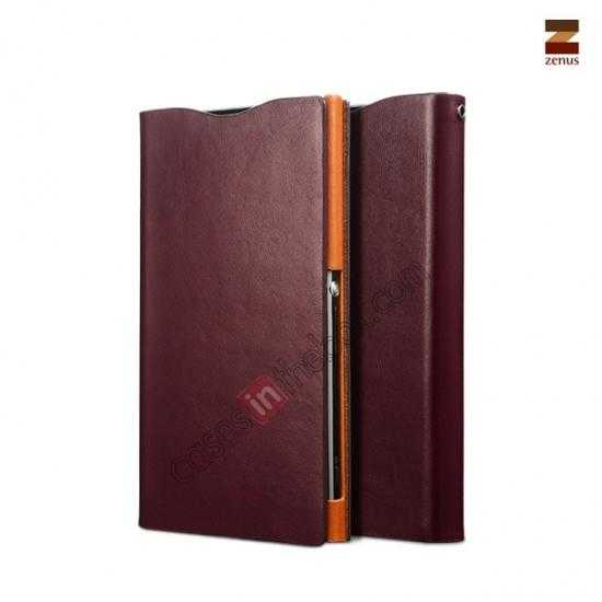 wholesale Zenus Signature Diary Genuine Cowhide Leather Cover Case for Sony Xperia Z1 L39h - Wine red