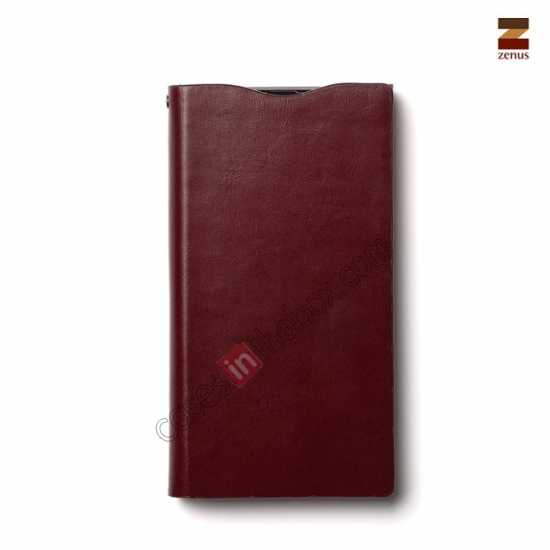 cheap Zenus Signature Diary Genuine Cowhide Leather Cover Case for Sony Xperia Z1 L39h - Wine red