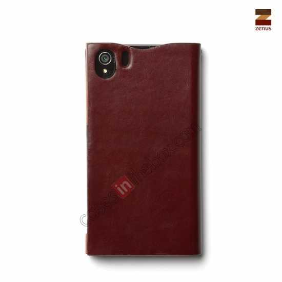 top quality Zenus Signature Diary Genuine Cowhide Leather Cover Case for Sony Xperia Z1 L39h - Wine red