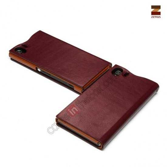 on sale Zenus Signature Diary Genuine Cowhide Leather Cover Case for Sony Xperia Z1 L39h - Wine red
