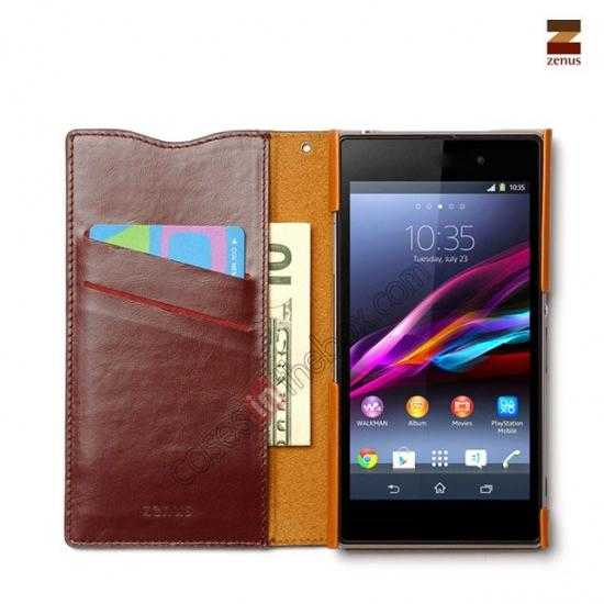 discount Zenus Signature Diary Genuine Cowhide Leather Cover Case for Sony Xperia Z1 L39h - Wine red