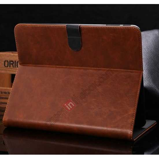wholesale Luxury Crazy Horse Leather Stand Case for Samsung Galaxy Tab 4 10.1 T530 w/ Card Slots - Light Brown