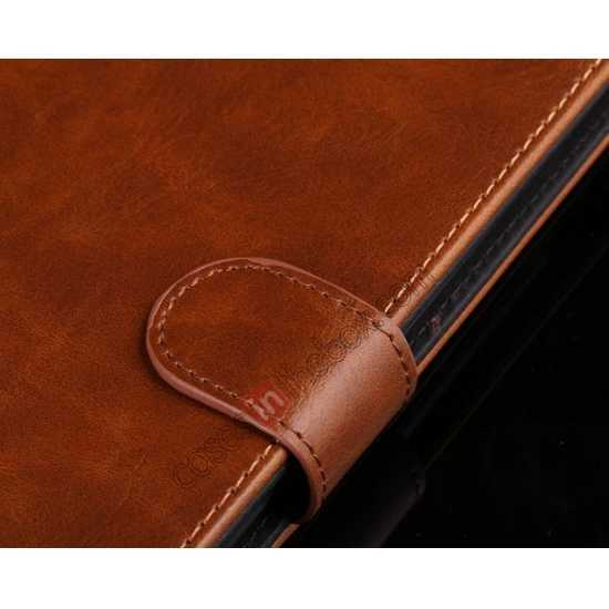 on sale Luxury Crazy Horse Leather Stand Case for Samsung Galaxy Tab 4 10.1 T530 w/ Card Slots - Light Brown