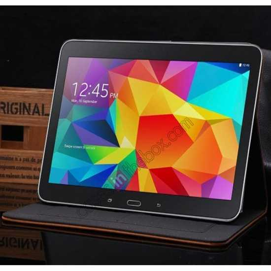 high quanlity Luxury Crazy Horse Leather Stand Case for Samsung Galaxy Tab 4 10.1 T530 w/ Card Slots - Light Brown