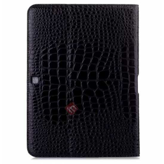 discount Crocodile Pattern Leather Stand Case for Samsung Galaxy Tab 4 10.1 T530 - Black