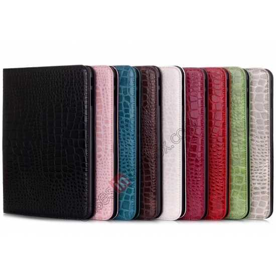 low price Crocodile Pattern Leather Stand Case for Samsung Galaxy Tab 4 10.1 T530 - Black