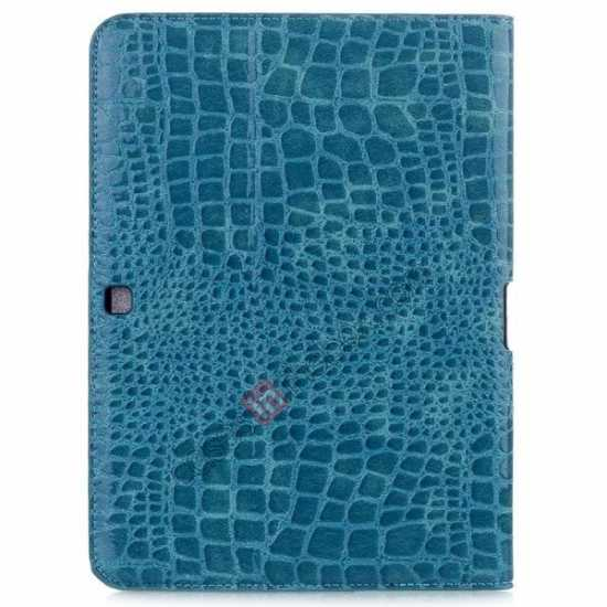discount Crocodile Pattern Leather Stand Case for Samsung Galaxy Tab 4 10.1 T530 - Blue