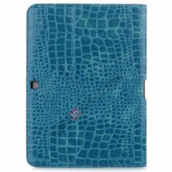 cheap Crocodile Pattern Leather Stand Case for Samsung Galaxy Tab 4 10.1 T530 - Blue