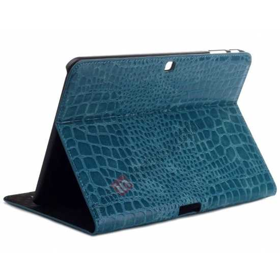 wholesale Crocodile Pattern Leather Stand Case for Samsung Galaxy Tab 4 10.1 T530 - Blue