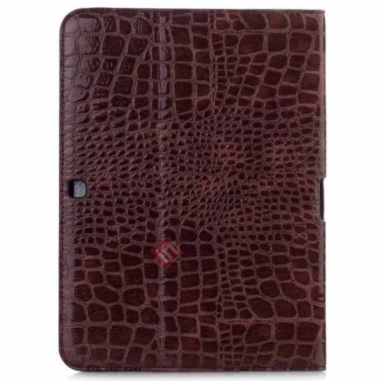 cheap Crocodile Pattern Leather Stand Case for Samsung Galaxy Tab 4 10.1 T530 - Brown