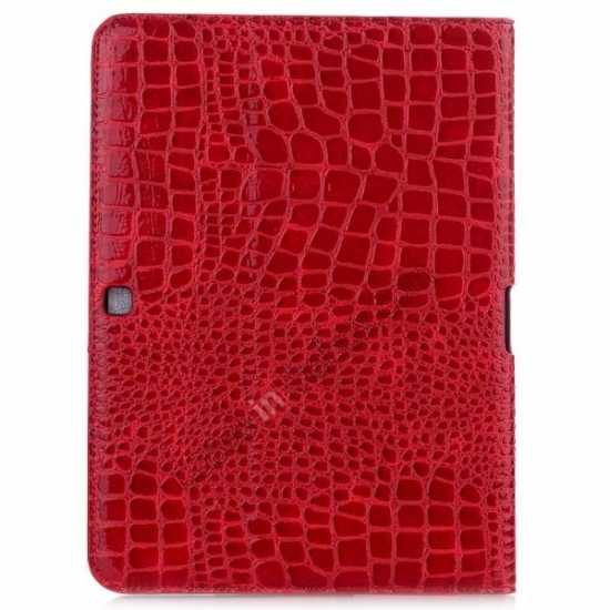 cheap Crocodile Pattern Leather Stand Case for Samsung Galaxy Tab 4 10.1 T530 - Red
