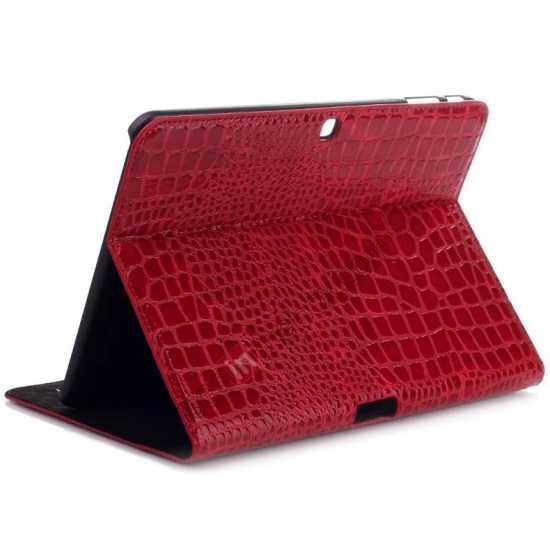 wholesale Crocodile Pattern Leather Stand Case for Samsung Galaxy Tab 4 10.1 T530 - Red