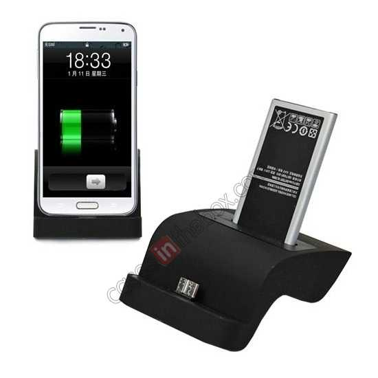 wholesale Desktop USB Sync Dual Phone & Battery Charger Dock for Samsung Galaxy S5