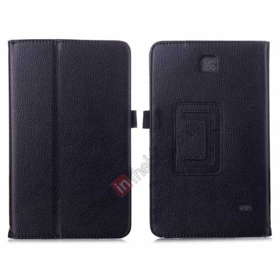 wholesale Lychee Leather Pouch Case With Stand for Samsung Galaxy Tab 4 8.0 T330 - Black