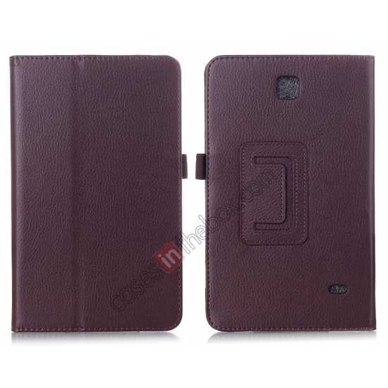 wholesale Lychee Leather Pouch Case With Stand for Samsung Galaxy Tab 4 8.0 T330 - Brown