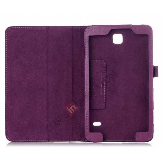 discount Lychee Leather Pouch Case With Stand for Samsung Galaxy Tab 4 8.0 T330 - Hot pink