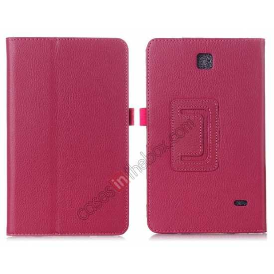 wholesale Lychee Leather Pouch Case With Stand for Samsung Galaxy Tab 4 8.0 T330 - Hot pink