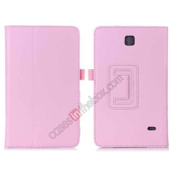 wholesale Lychee Leather Pouch Case With Stand for Samsung Galaxy Tab 4 8.0 T330 - Pink