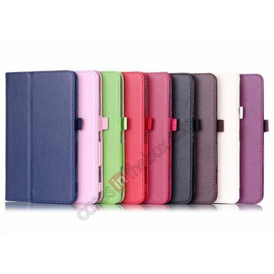 cheap Lychee Leather Pouch Case With Stand for Samsung Galaxy Tab 4 8.0 T330 - Purple