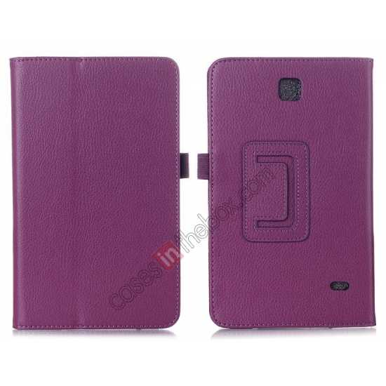 wholesale Lychee Leather Pouch Case With Stand for Samsung Galaxy Tab 4 8.0 T330 - Purple