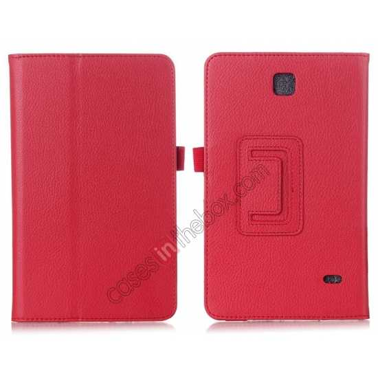 wholesale Lychee Leather Pouch Case With Stand for Samsung Galaxy Tab 4 8.0 T330 - Red