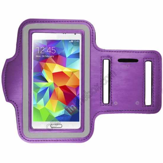 wholesale Sports Gym Running Arm Band Armband Case Cover For Samsung Galaxy S5 - Purple