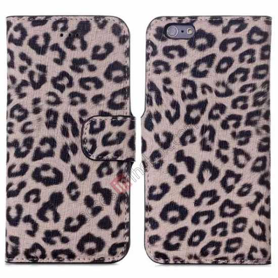 wholesale Leopard Print Leather Folio Stand Wallet Case for iPhone 6/6S 4.7 - Brown