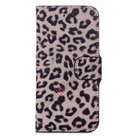 discount Leopard Print Leather Folio Stand Wallet Case for iPhone 6/6S 4.7 - Brown