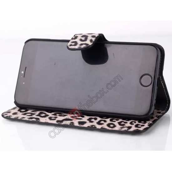 top quality Leopard Print Leather Folio Stand Wallet Case for iPhone 6/6S 4.7 - Brown