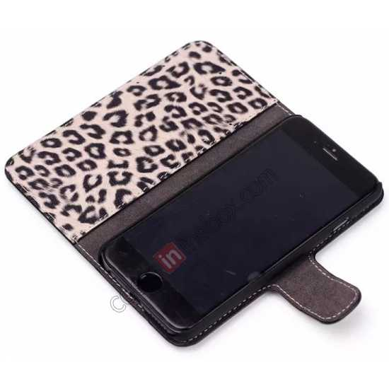on sale Leopard Print Leather Folio Stand Wallet Case for iPhone 6/6S 4.7 - Brown