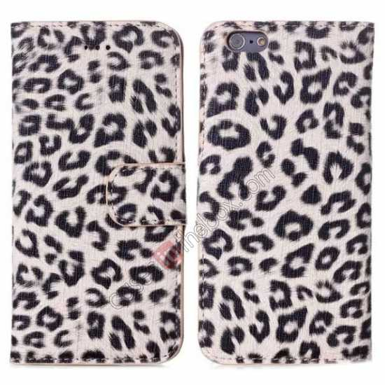 wholesale Leopard Print Leather Folio Stand Wallet Case for iPhone 6/6S 4.7 - Grey