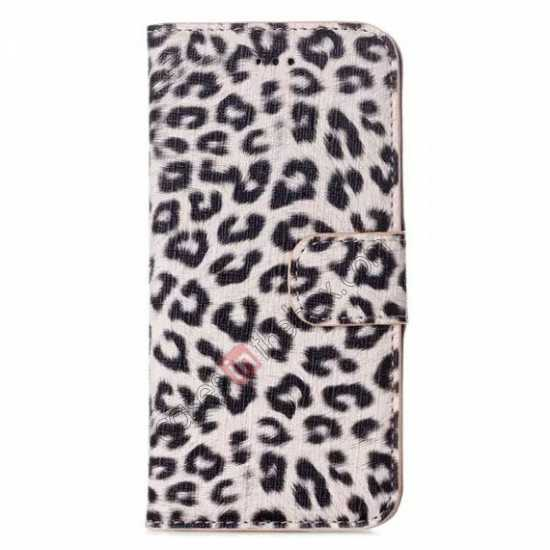 discount Leopard Print Leather Folio Stand Wallet Case for iPhone 6/6S 4.7 - Grey