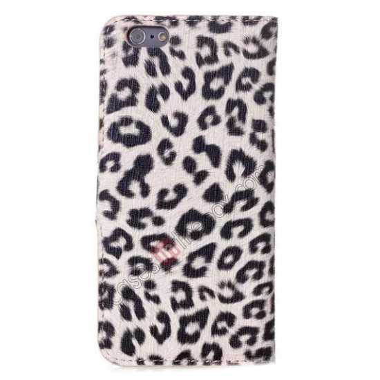 cheap Leopard Print Leather Folio Stand Wallet Case for iPhone 6/6S 4.7 - Grey