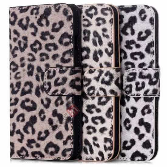 on sale Leopard Print Leather Folio Stand Wallet Case for iPhone 6/6S 4.7 - Grey
