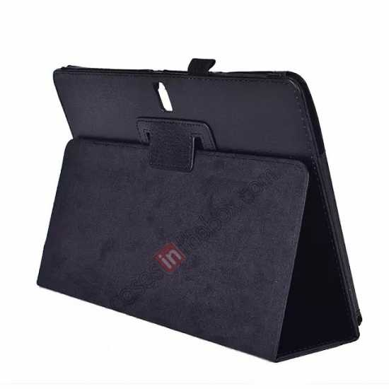 wholesale Lychee Leather Stand Fold Folio Case for Samsung Galaxy Tab S 10.5 T800 - Black