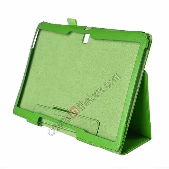 discount Lychee Leather Stand Fold Folio Case for Samsung Galaxy Tab S 10.5 T800 - Green