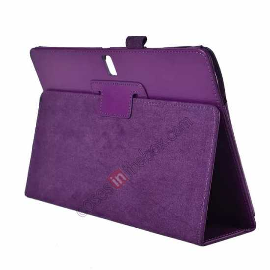 wholesale Lychee Leather Stand Fold Folio Case for Samsung Galaxy Tab S 10.5 T800 - Purple