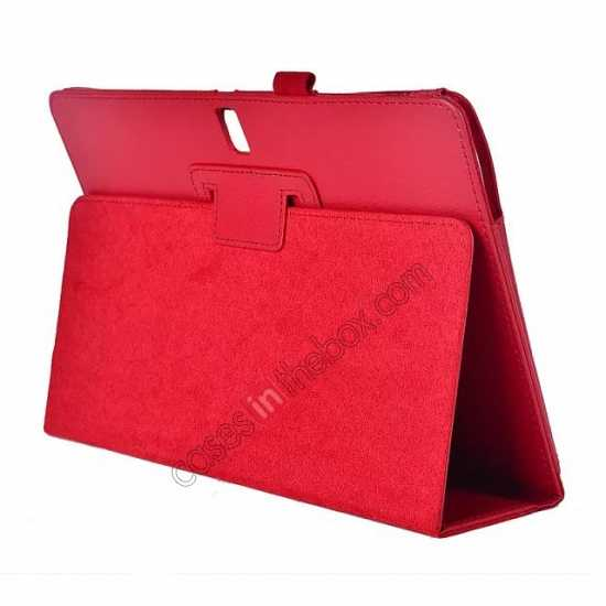 wholesale Lychee Leather Stand Fold Folio Case for Samsung Galaxy Tab S 10.5 T800 - Red