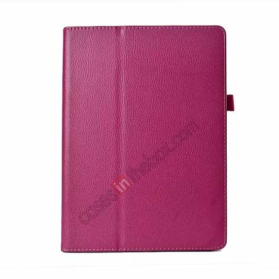 discount Lychee Leather Stand Fold Folio Case for Samsung Galaxy Tab S 10.5 T800 - Rose red