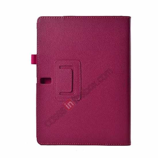 cheap Lychee Leather Stand Fold Folio Case for Samsung Galaxy Tab S 10.5 T800 - Rose red