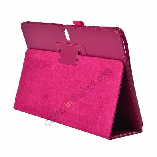 wholesale Lychee Leather Stand Fold Folio Case for Samsung Galaxy Tab S 10.5 T800 - Rose red