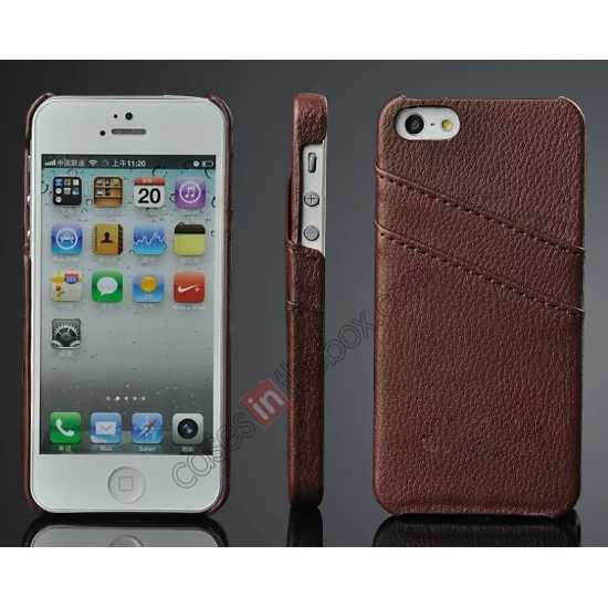 wholesale Litchi Genuine leather card holder hard back case cover for iPhone SE/5S/5 - Brown