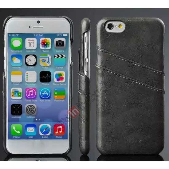 wholesale Oil Wax Style Insert Card Leather Back Case Cover for iPhone 6/6S 4.7 Inch - Dark Grey