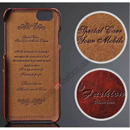 discount Oil Wax Style Insert Card Leather Back Case Cover for iPhone 6/6S 4.7 Inch - Brown