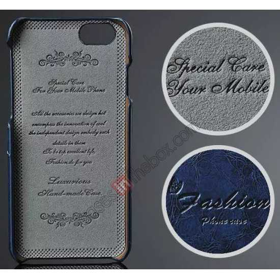 discount Oil Wax Style Insert Card Leather Back Case Cover for iPhone 6/6S 4.7 Inch - Dark Blue