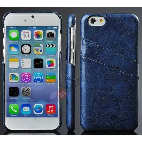 wholesale Oil Wax Style Insert Card Leather Back Case Cover for iPhone 6/6S 4.7 Inch - Dark Blue