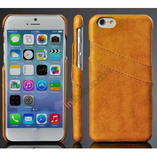 wholesale Oil Wax Style Insert Card Leather Back Case Cover for iPhone 6/6S 4.7 Inch - Orange