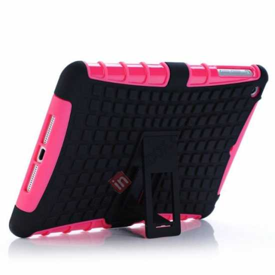discount Shockproof Military Duty Hybrid Hard Case for iPad Mini 2 Retina - Hot pink