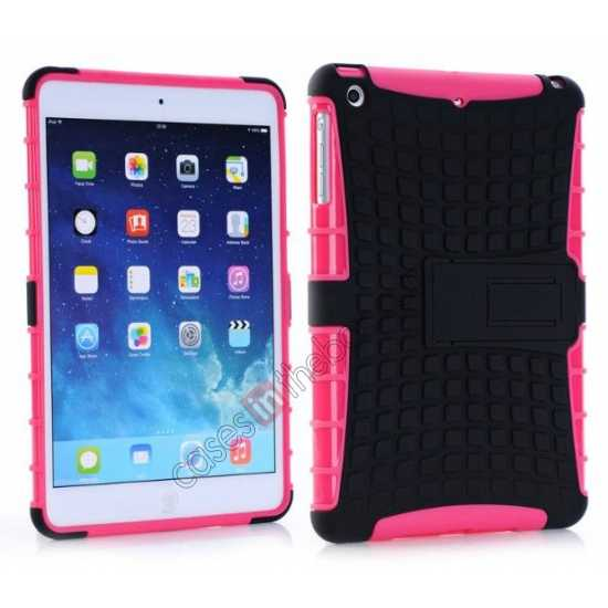 wholesale Shockproof Military Duty Hybrid Hard Case for iPad Mini 2 Retina - Hot pink